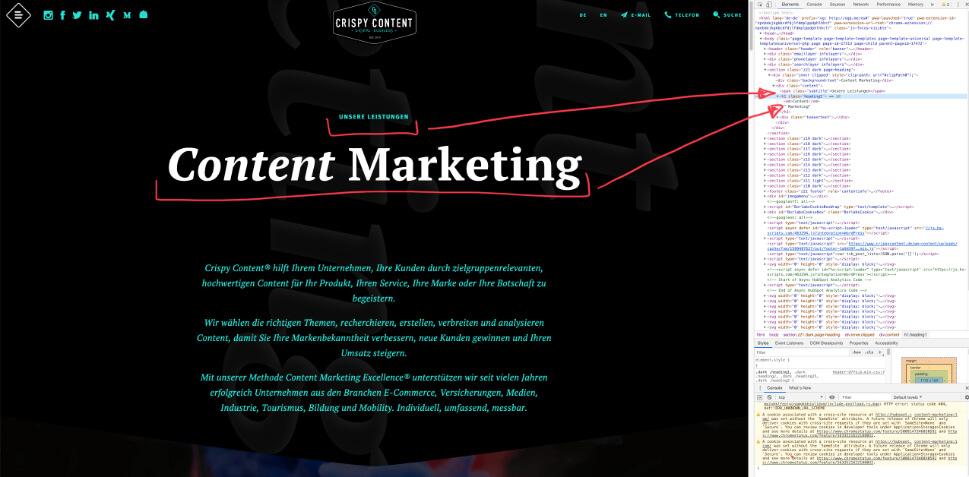 Website Content Relaunch Crispy Content®, Service Page crispycontent.de