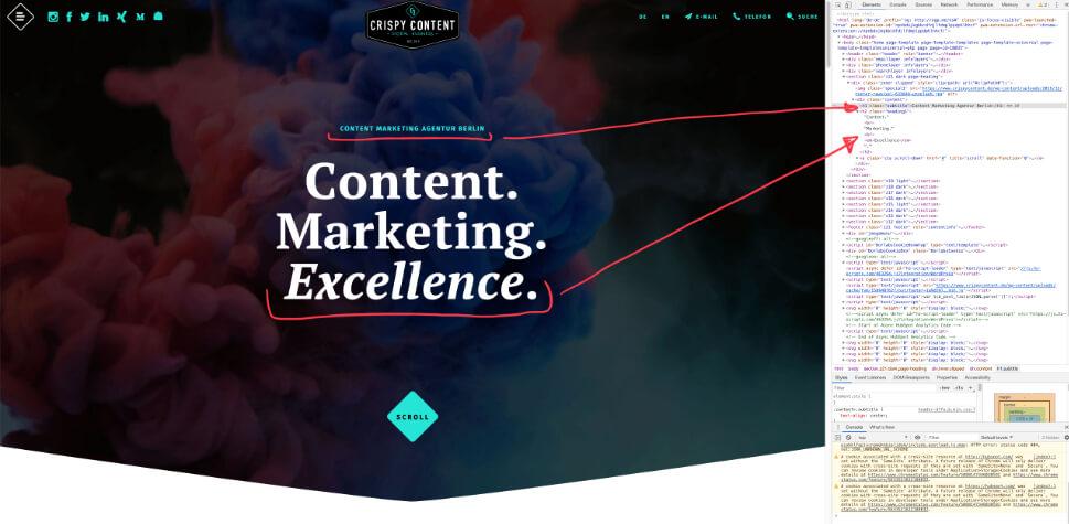 Website Content Relaunch Crispy Content®, Website crispycontent.de