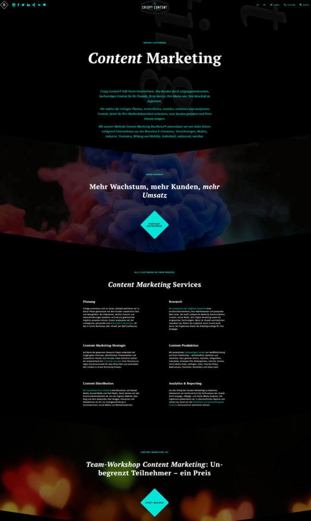 Website Content Relaunch Crispy Content®, Service Page