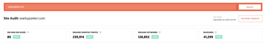 Keyword rankings Ubersuggest warbyparker.com, Crispy Content®