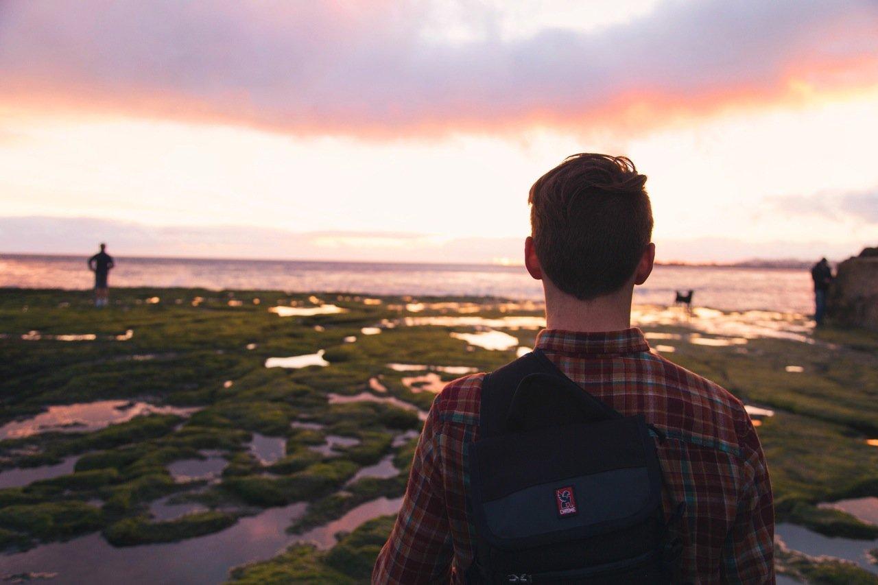 light-sunset-man-beach