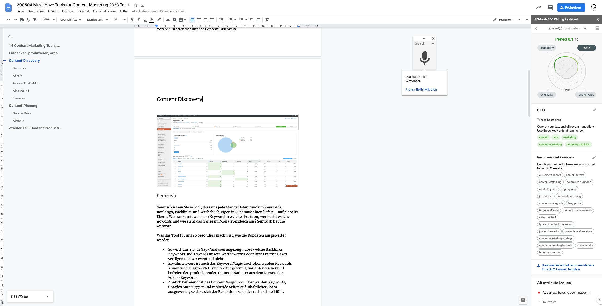 Content Marketing Tools Essentials, SemRush Writing Assistant, Crispy Content®